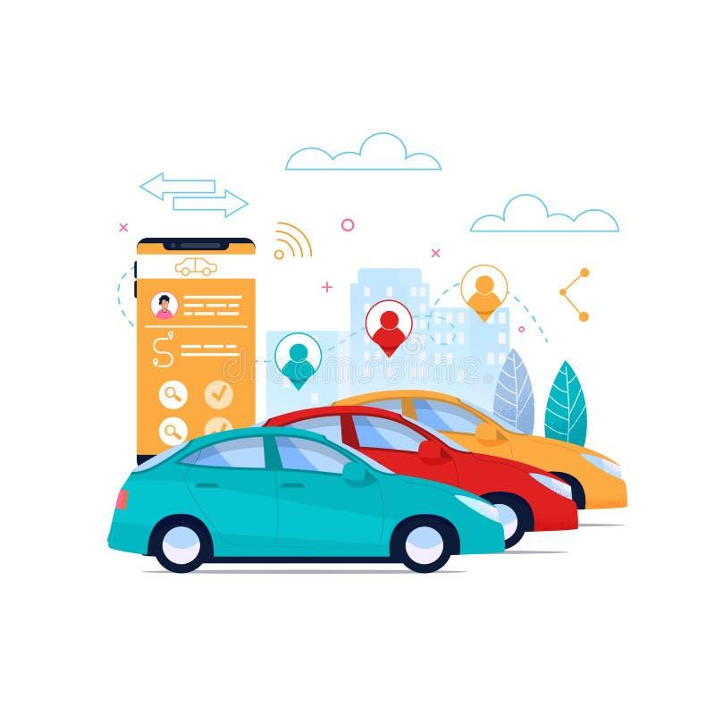 Disposição lisa do cartaz do Carsharing Aluguel do automóvel ilustração do vetor