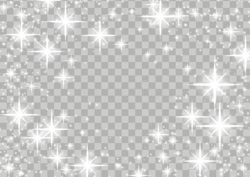 Disposição mágica do quadro do fulgor cintilante brilhante da estrela sobre quadriculado ilustração stock