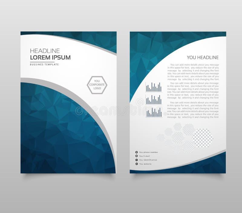 A disposição, o inseto e a tampa modernos do folheto projetam o molde com os gráficos planos de papel poligonais Molde moderno da ilustração royalty free