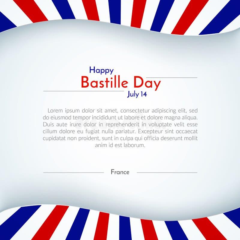 Disposição patriótica da bandeira do folheto do fundo da bandeira de france do cartaz com linhas listras de dia de Bastille feliz ilustração do vetor