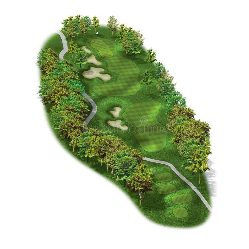 disposições do furo do campo de golfe 3D ilustração stock