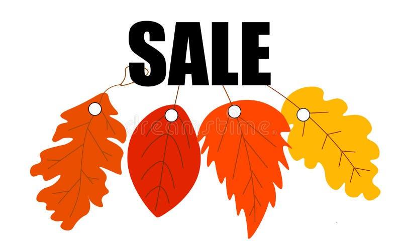 A disposi??o do fundo da venda do outono decora com as folhas para o folheto de compra da venda ou do cartaz e do quadro do promo ilustração royalty free