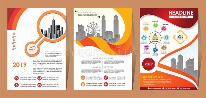 Disposi??o do molde do folheto, informe anual do projeto da tampa, compartimento, inseto ou brochura no A4 com formas geom?tricas ilustração do vetor