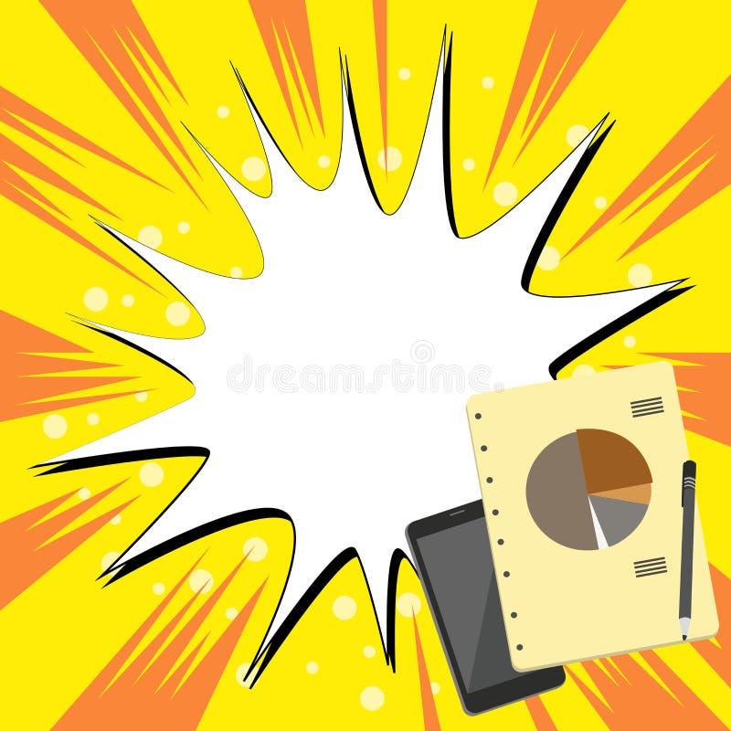 Disposi??o lisa da foto do comutado fora do dispositivo de Smartphone, da pena de esferogr?fica e do bloco de notas de RingBound  ilustração royalty free