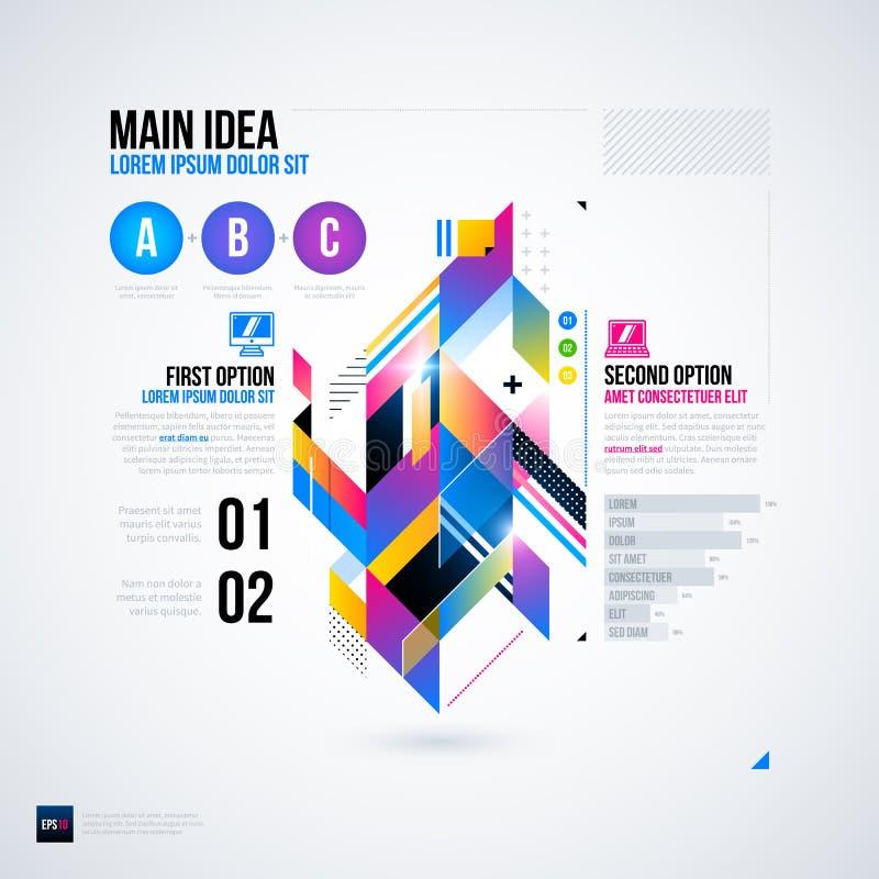 Disposición abstracta del infographics con los elementos geométricos brillantes Útil para las presentaciones, el diseño web u otr libre illustration
