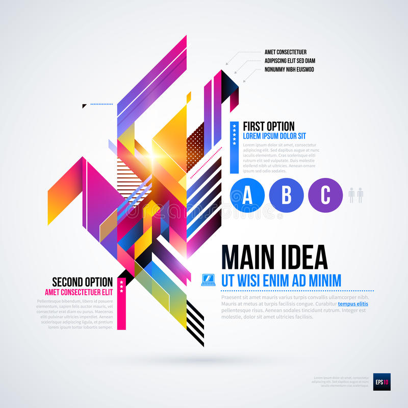 Disposición abstracta del infographics con los elementos geométricos brillantes stock de ilustración