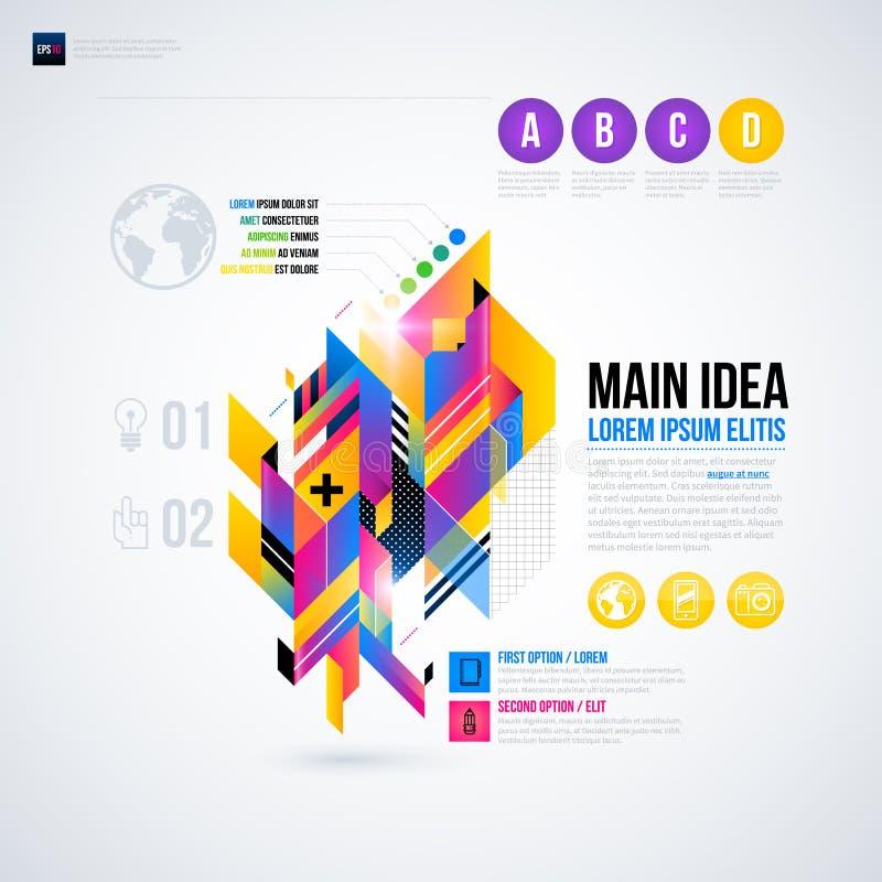 Disposición abstracta del infographics con los elementos geométricos brillantes ilustración del vector
