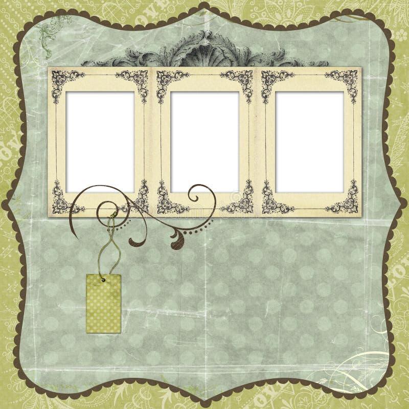 Disposición azul del libro de recuerdos con adornos de la vendimia stock de ilustración