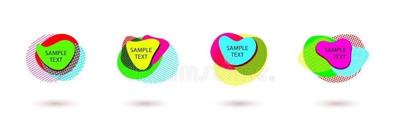 Disposición brillante de hacer publicidad banderas brillantes coloridas de la forma orgánica abstracta del elemento geométrico de stock de ilustración