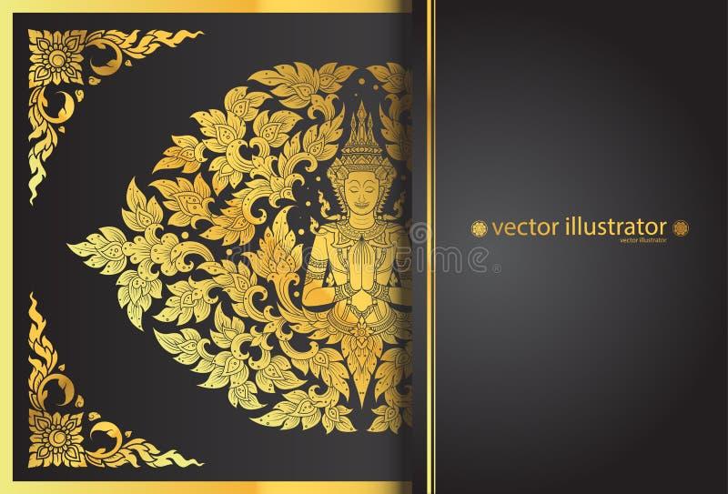 Disposición Buda y línea tradición tailandesa de la flor stock de ilustración