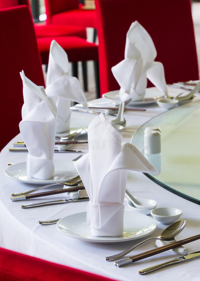 Disposición china de la mesa de comedor imágenes de archivo libres de regalías