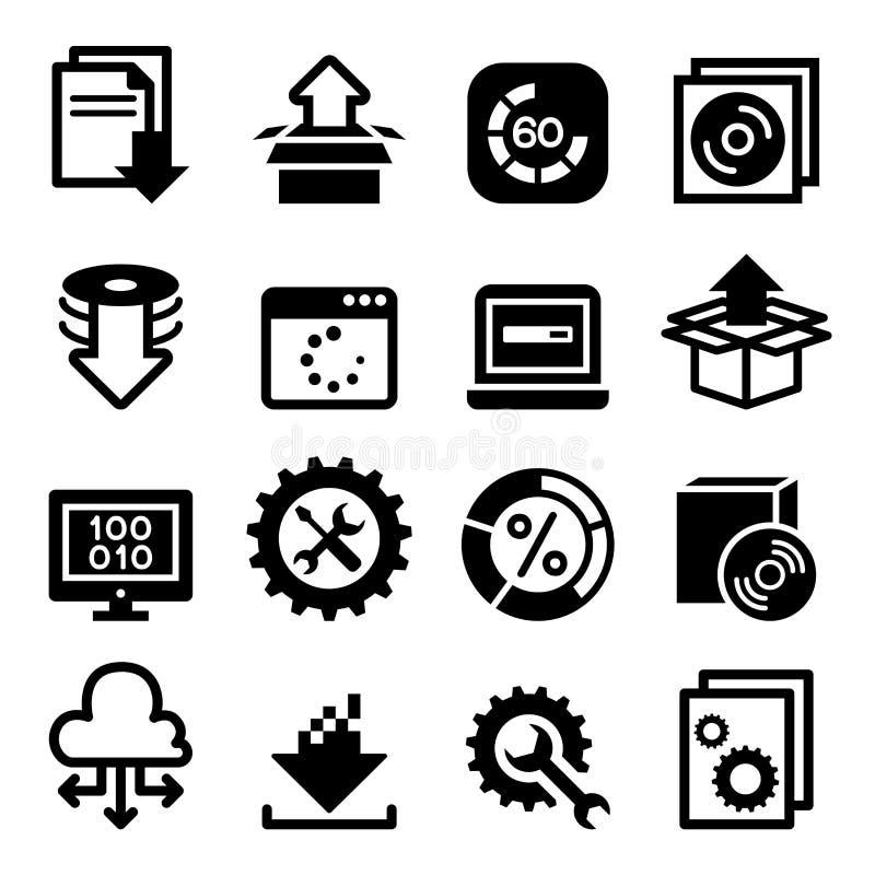 Disposición, configuración, mantenimiento y icono de la instalación ilustración del vector