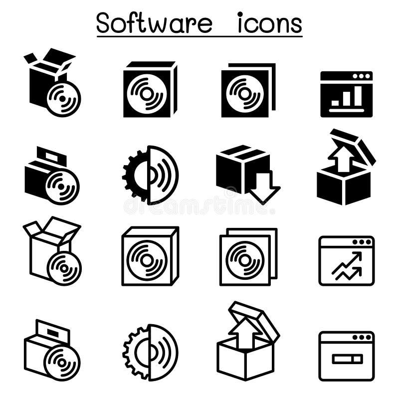 Disposición, configuración, mantenimiento y software del icono de la instalación ilustración del vector