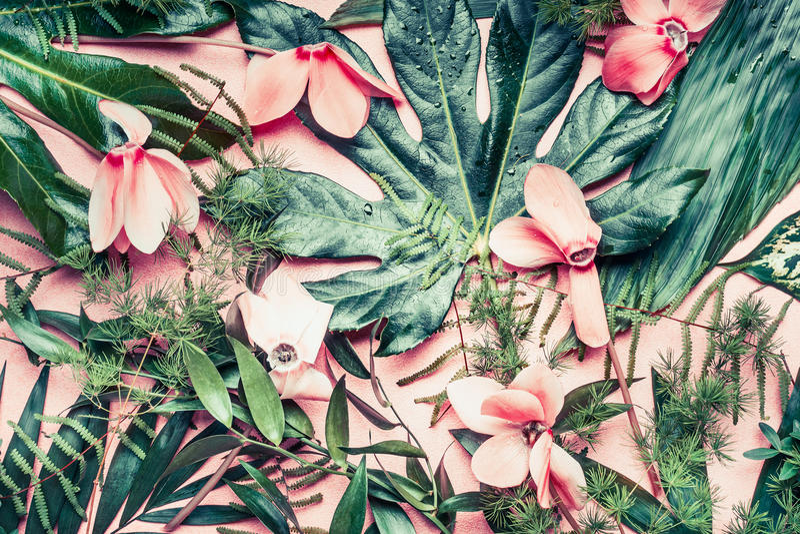 Disposición creativa hecha de flores y de hojas de palma tropicales en el fondo del rosa en colores pastel, visión superior fotografía de archivo