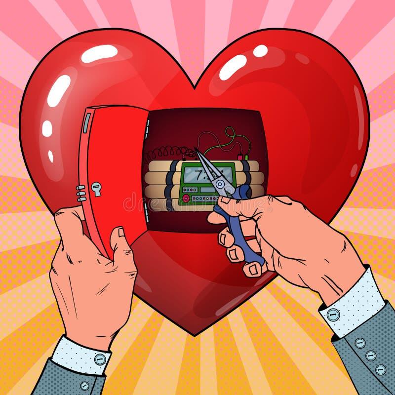 Disposición de bomba del corazón de la mujer Concepto del amor Ejemplo del arte pop ilustración del vector