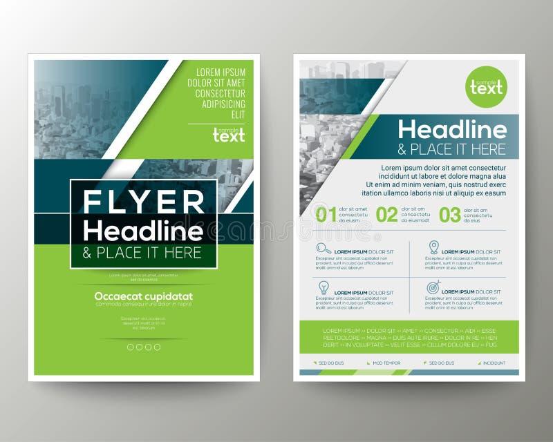 Disposición de diseño geométrica verde y azul del aviador del folleto del cartel stock de ilustración