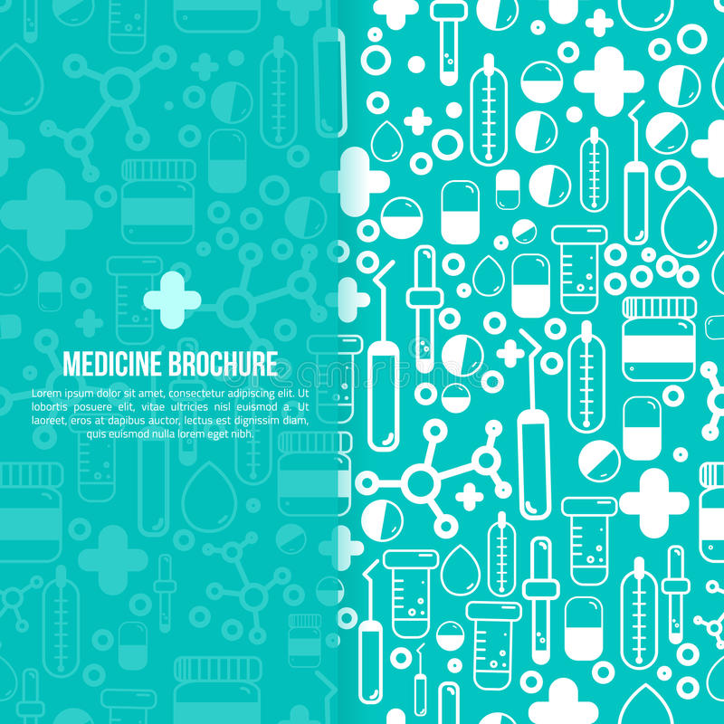 Disposición de diseño médica del folleto de la atención sanitaria Vector el aviador en tamaño cuadrado con los artículos de la fa libre illustration