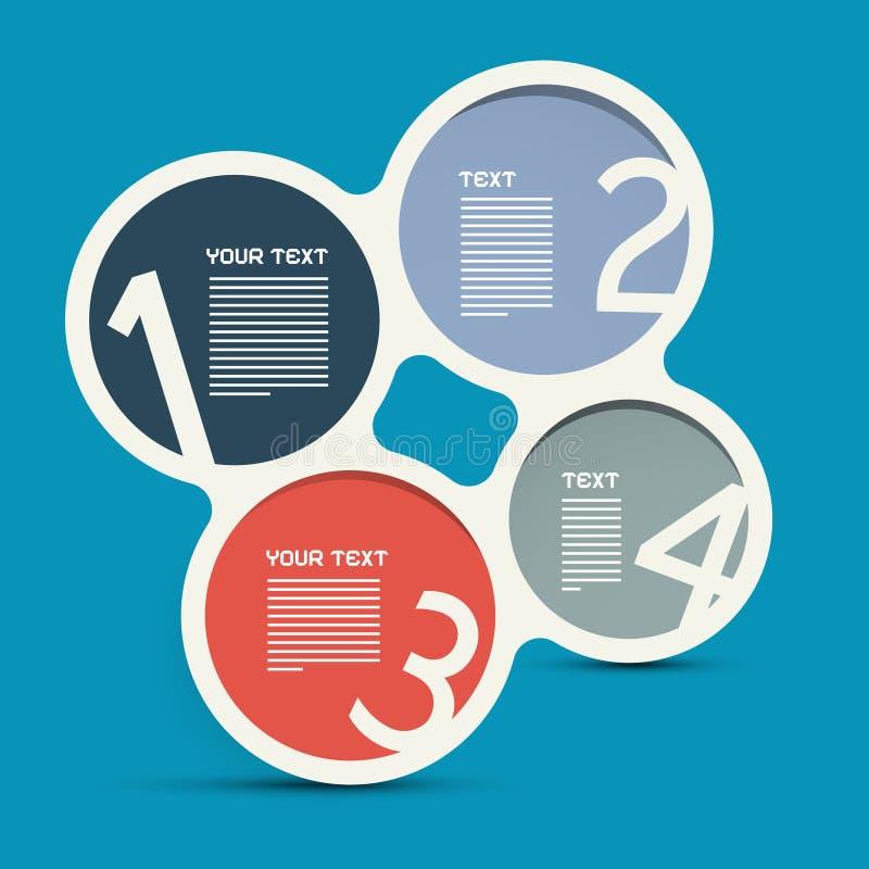 Disposición de Infographic del círculo de cuatro pasos stock de ilustración