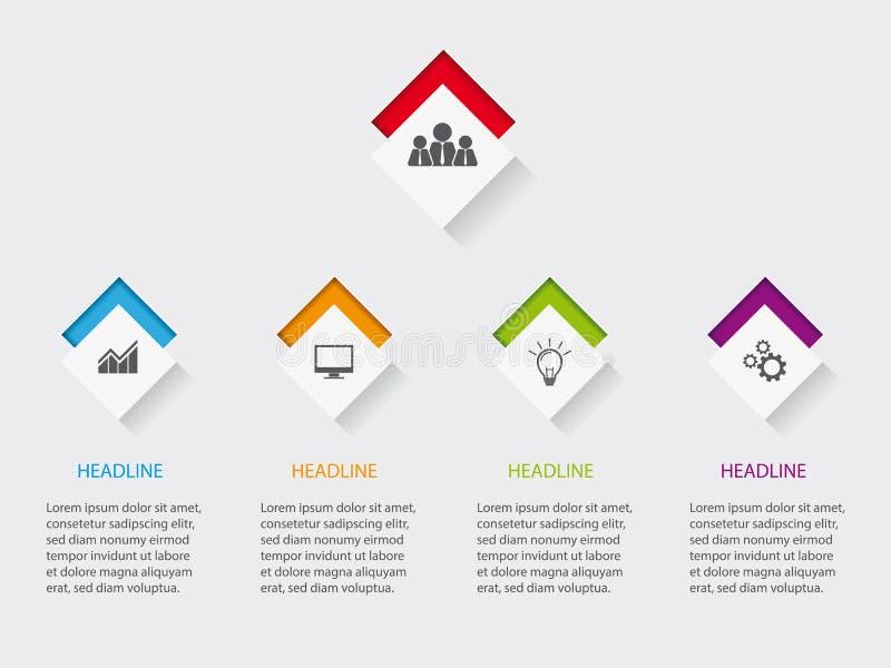 Disposición de Infographic para el sitio web o impresión con los iconos en los botones libre illustration