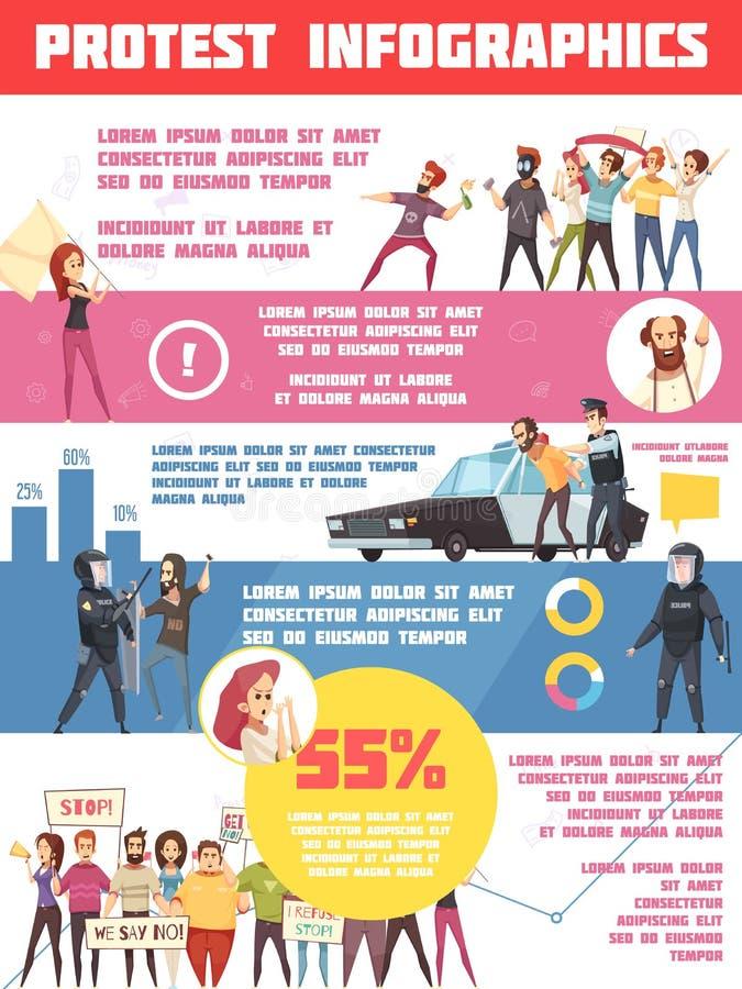 Disposición de Infographics de las acciones de la protesta libre illustration