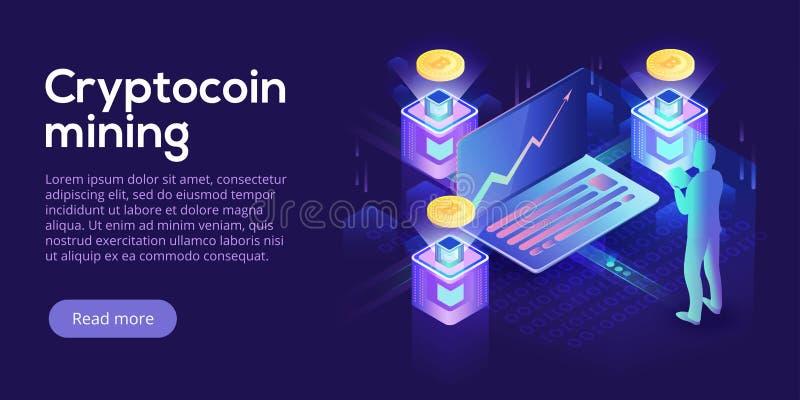 Disposición de la granja de la explotación minera de Cryptocoin Cryptocurrency y red del blockchain ilustración del vector
