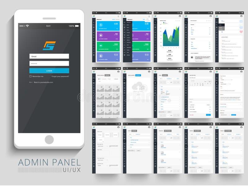 Disposición de la interfaz de usuario del panel del Admin ilustración del vector
