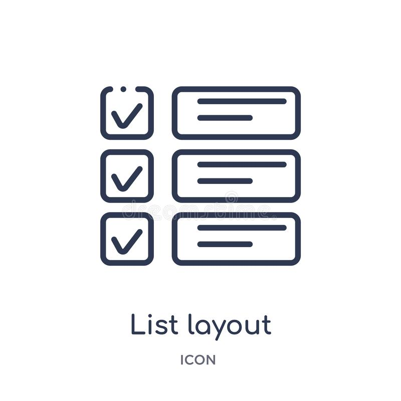 disposición de la lista con el icono de las cajas de control de la colección del esquema de la interfaz de usuario Línea fina dis ilustración del vector
