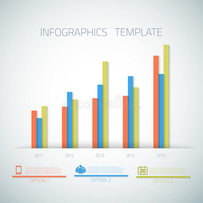 Disposición de la plantilla de la barra de la cronología de Infographic del web con stock de ilustración