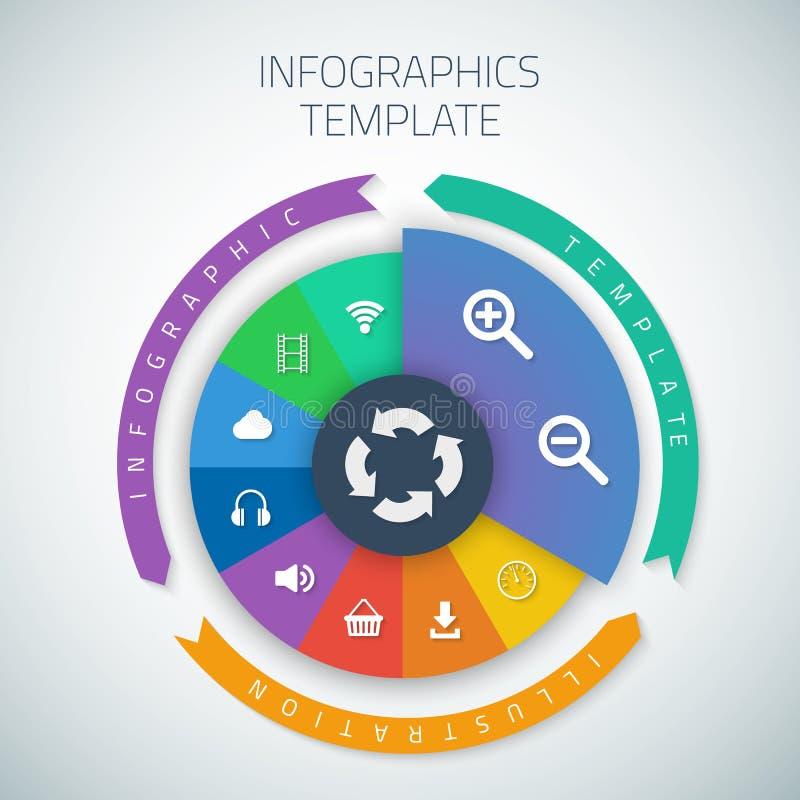 Disposición de la plantilla de la empanada de la cronología de Infographic del web con libre illustration