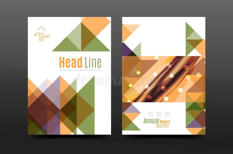 Disposición de la plantilla del folleto de la cubierta del informe anual a4 del diseño de la geometría, revista, aviador o follet ilustración del vector