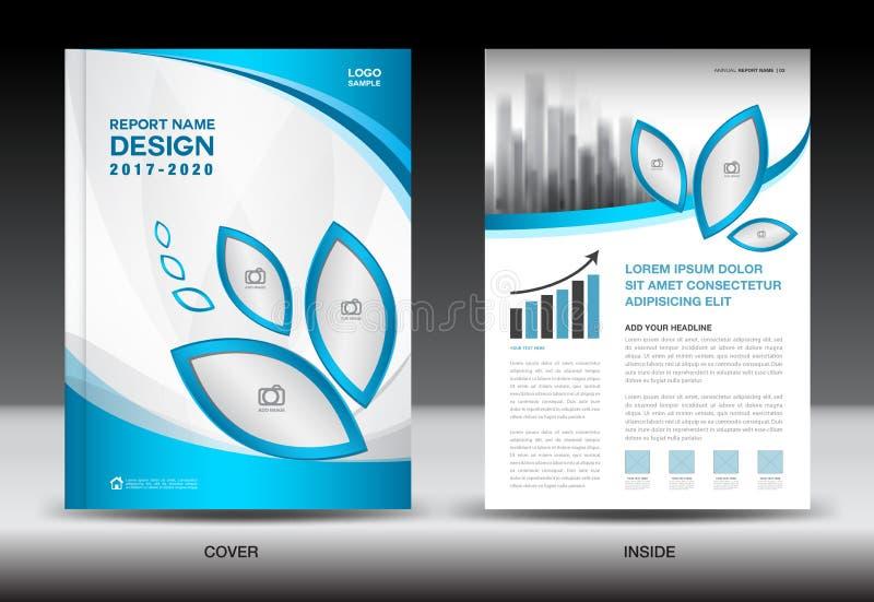 Disposición de la plantilla del folleto, diseño azul de la cubierta, informe anual, maga ilustración del vector