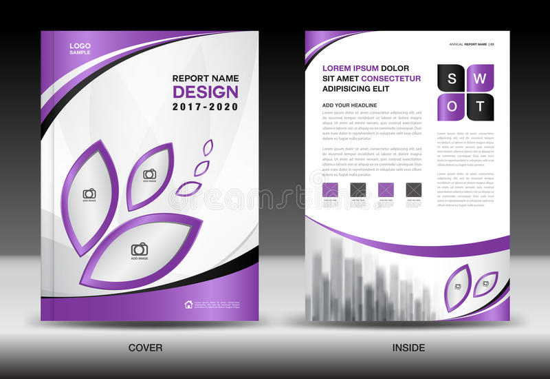 Disposición de la plantilla del folleto, diseño púrpura de la cubierta, informe anual, mA stock de ilustración