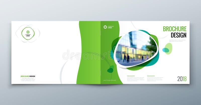 Disposición de la plantilla del folleto, informe anual del diseño de la cubierta, revista, aviador o folleto en A4 con formas geo stock de ilustración