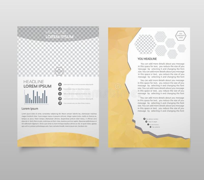Disposición de la plantilla del folleto, informe anual del diseño de la cubierta, revista, aviador, folleto del prospecto en A4 c stock de ilustración