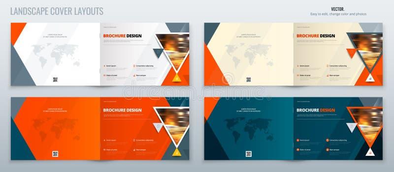 Disposición de la plantilla del paisaje del folleto, informe anual del diseño de la cubierta, revista, aviador o folleto en A4 co libre illustration