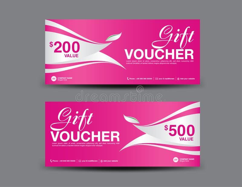 Disposición de la plantilla del vale de regalo, diseño del aviador del negocio, fondo de la hoja de la selva, vale rosado, boleto stock de ilustración