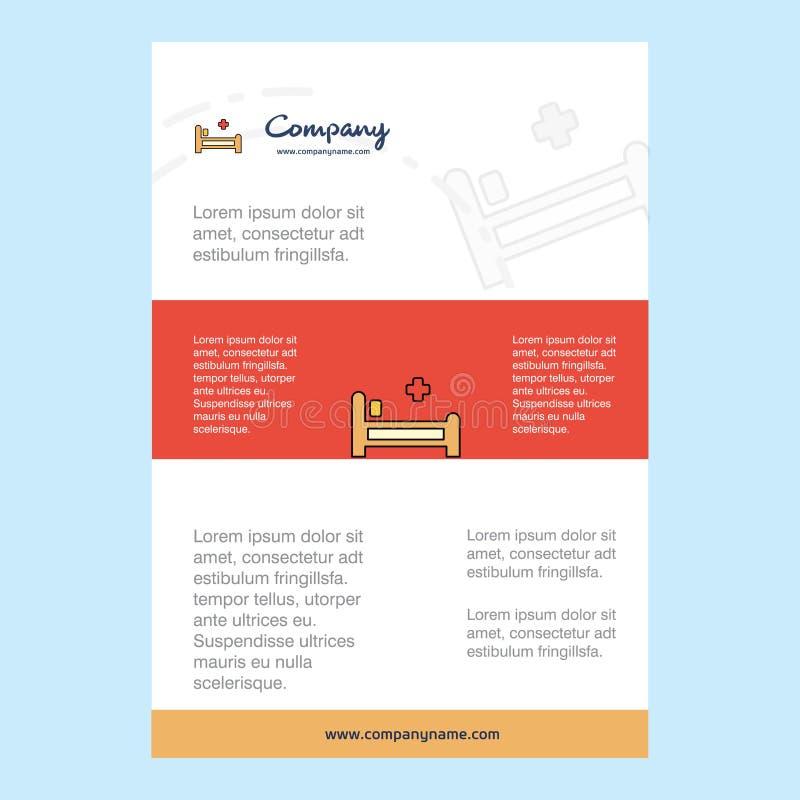 Disposición de la plantilla para el perfil de compañía de la cama de hospital, informe anual, presentaciones, prospecto, fondo de stock de ilustración