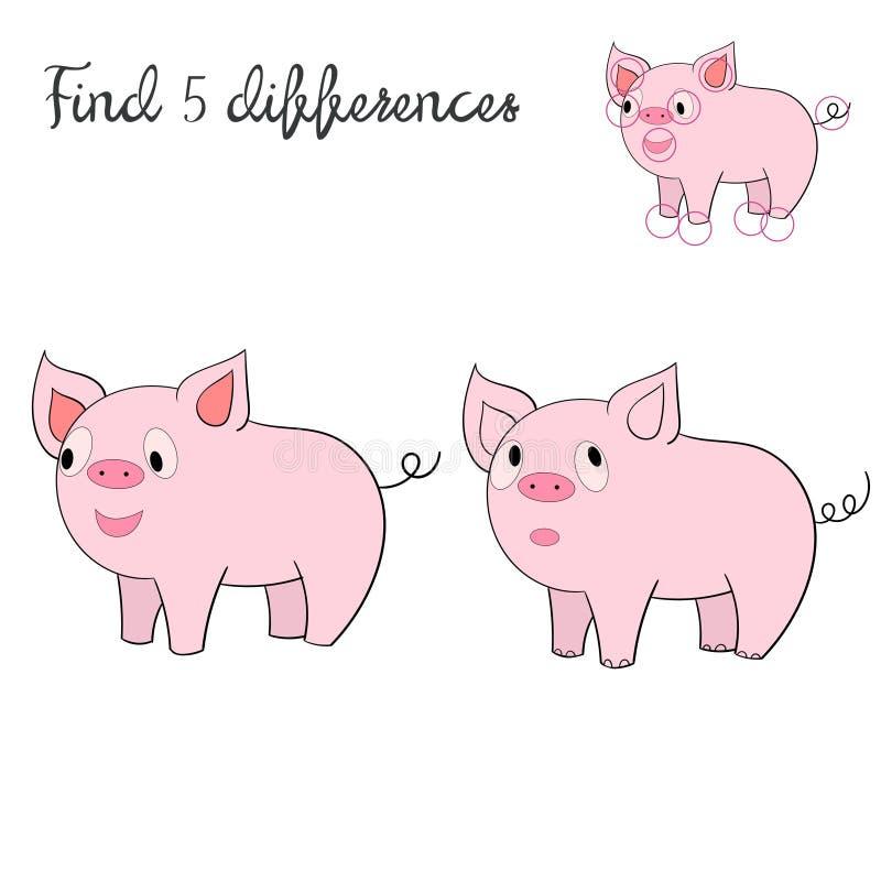 Disposición de los niños de las diferencias del hallazgo para el cerdo del juego ilustración del vector