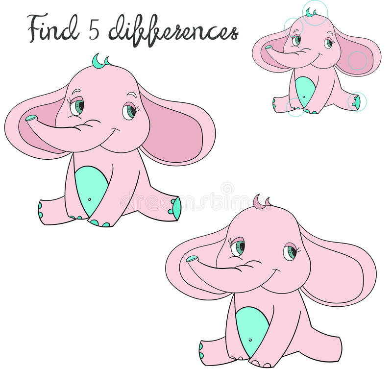 Disposición de los niños de las diferencias del hallazgo para el elefante del juego stock de ilustración
