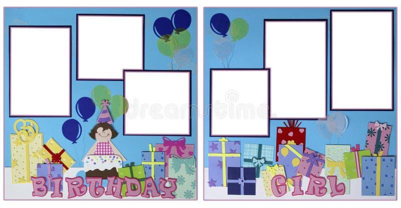 Disposición de paginación del libro de recuerdos de la muchacha del cumpleaños stock de ilustración