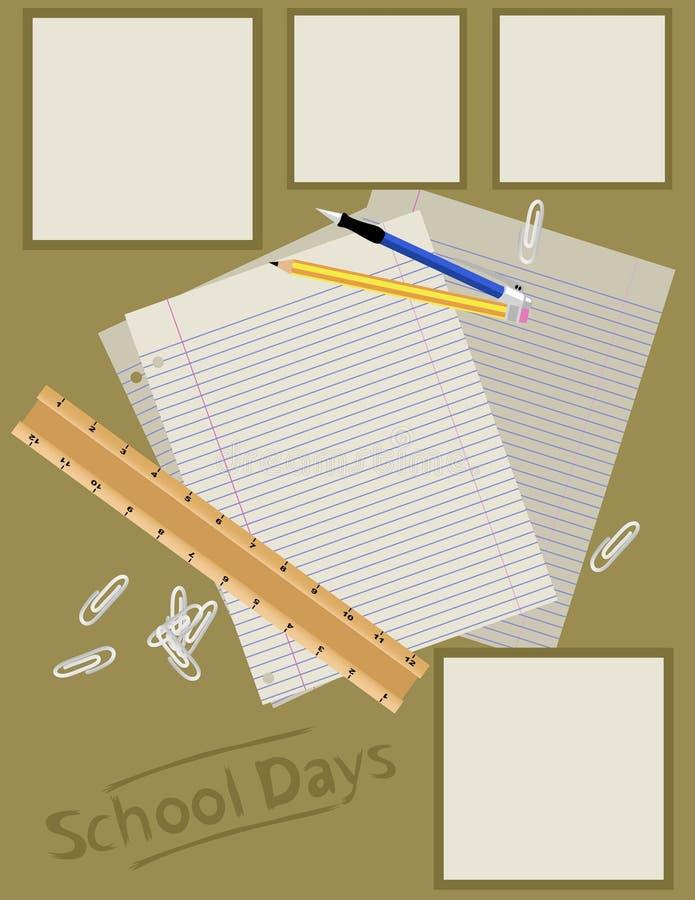 Disposición de paginación del libro de recuerdos - escuela imagen de archivo libre de regalías