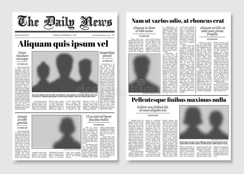 Disposición de papel del vector del periódico del diario sensacionalista Plantilla editorial de las noticias ilustración del vector