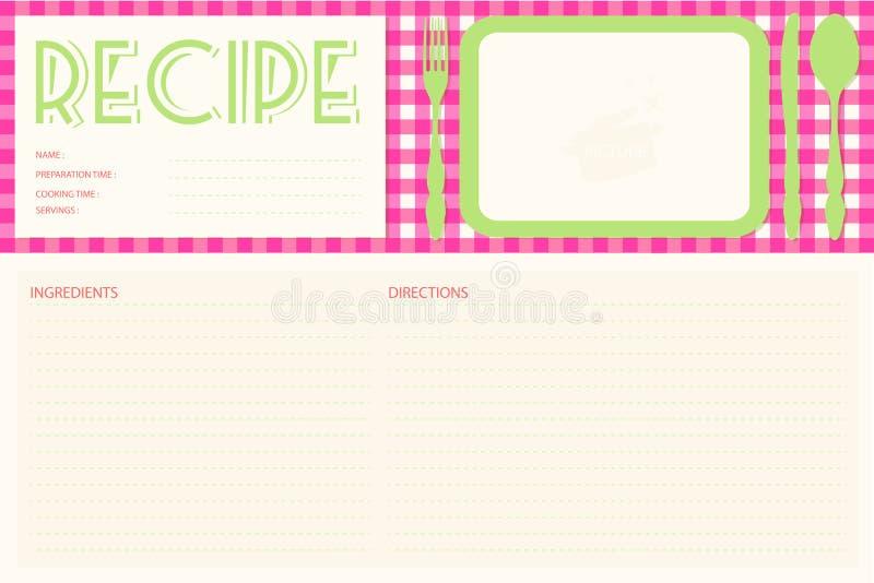 Disposición de tarjeta retra de la receta del vector ilustración del vector
