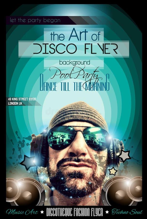 Disposición del aviador del club de noche del disco con forma de DJ ilustración del vector