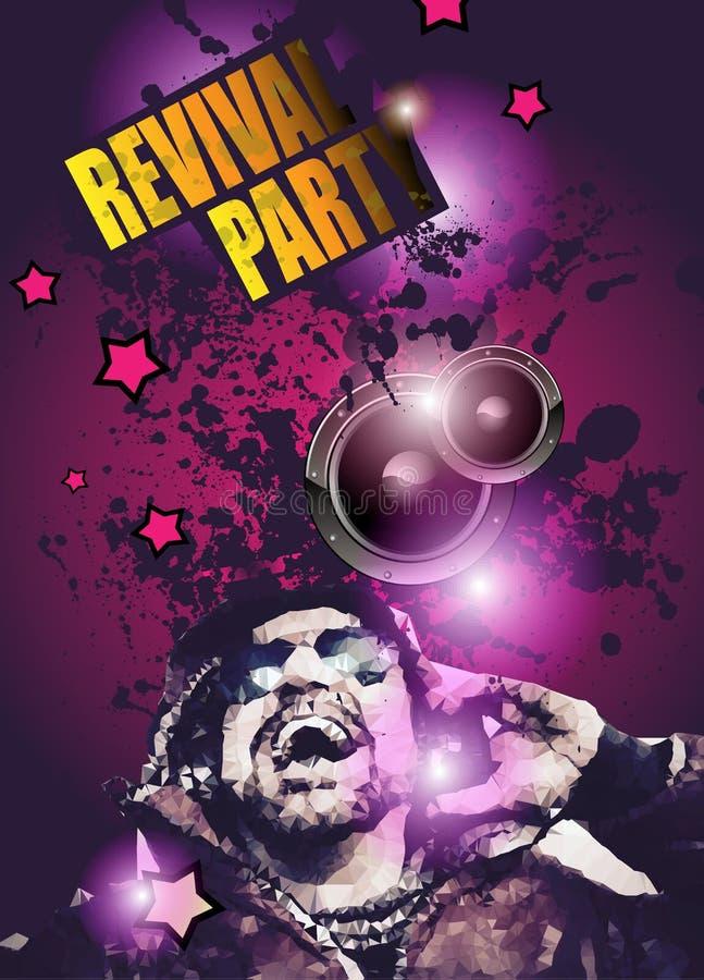 Disposición del aviador del club de noche del disco con la forma y la música de DJ temáticas libre illustration