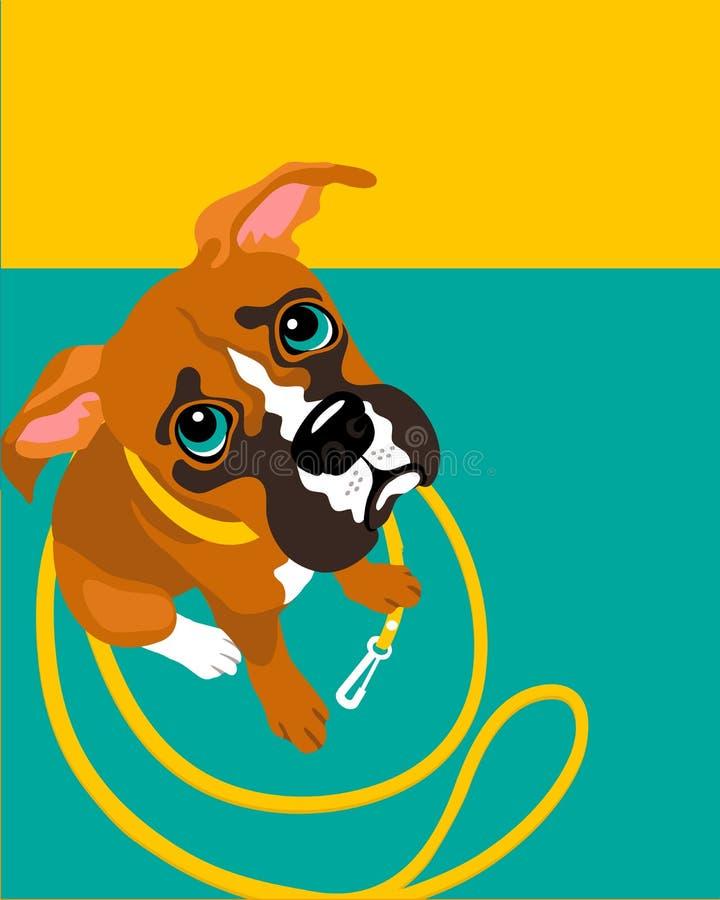 Disposición del cartel con el perro triste del boxeador libre illustration