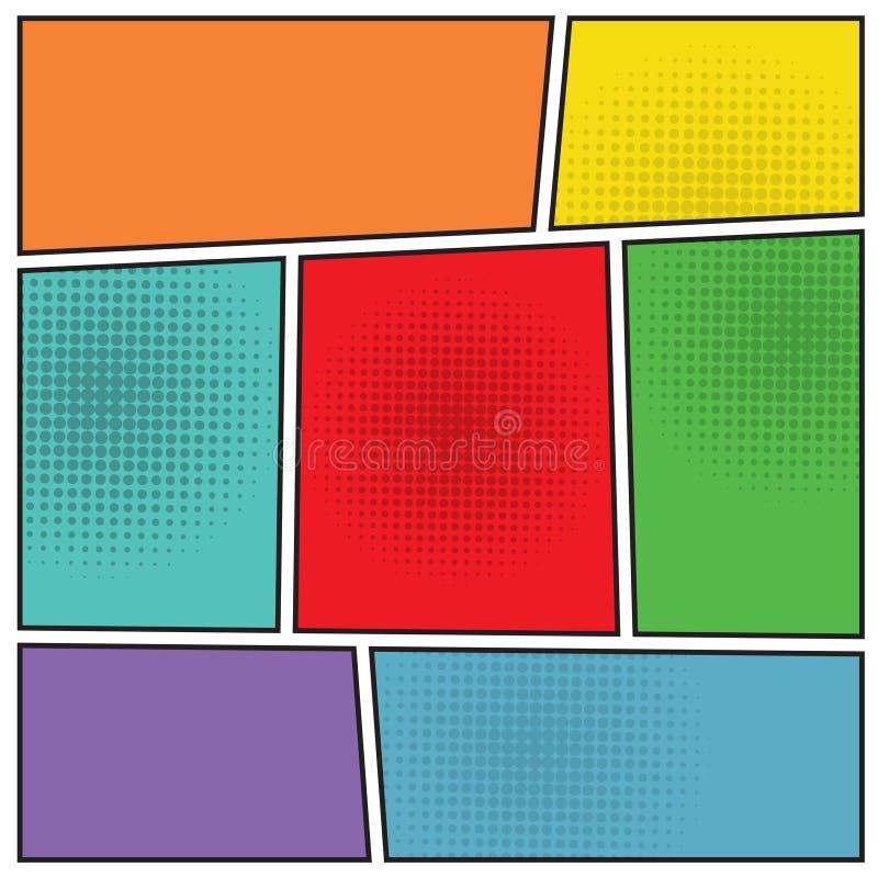 Disposición del espacio en blanco del popart de los tebeos ilustración del vector
