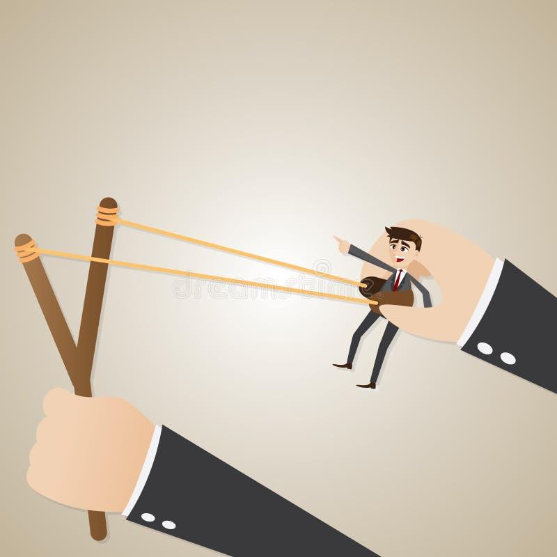 Disposición del hombre de negocios de la historieta en la catapulta libre illustration