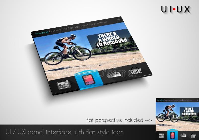 Disposición del panel moderno del webite del estilo plano con los iconos stock de ilustración