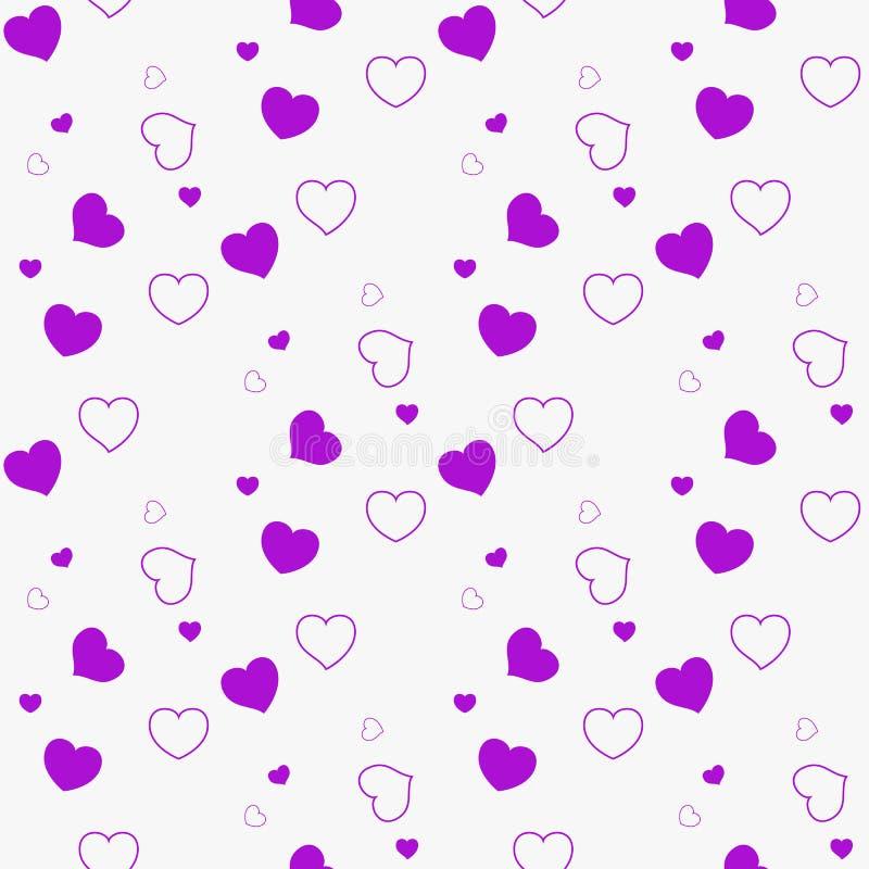 Disposición inconsútil oscura del vector púrpura, rosado con los amores Ejemplo abstracto del brillo con los corazones coloridos  stock de ilustración